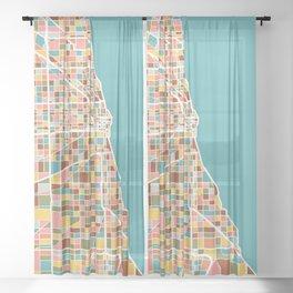 Chicago Map Art Sheer Curtain