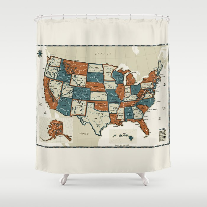USA Vintage Map Shower Curtain By Pockets