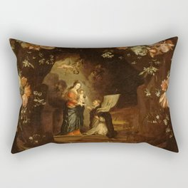 """Jan van Kessel """"Madonna with the Child Framed with a Garland of Flowers"""" Rectangular Pillow"""