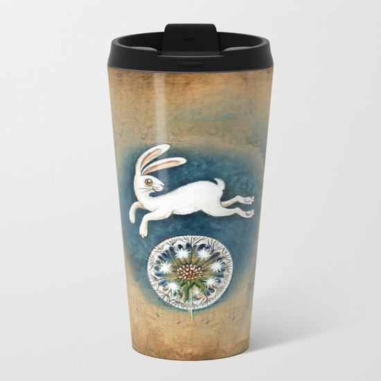 Rabbit with dandelion Metal Travel Mug