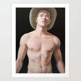 Young man with cowboy hat. Art Print