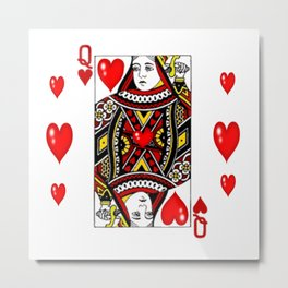 QUEEN  OF HEARTS SUIT CASINO PLAYING FACE CARD Metal Print