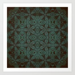 Forest Green Delitcate Flowers Pattern Art Print