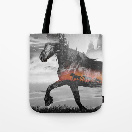 Black Horse Sunset Run Tote Bag
