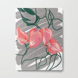 Digital Tropical Flowers Metal Print