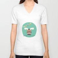 monty python V-neck T-shirts featuring Monty Mouse by Little Joy Designs
