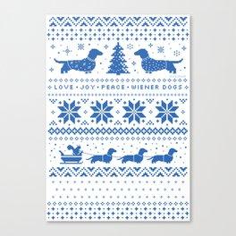 Love Joy Peace Wiener Dogs Blue Pattern Canvas Print