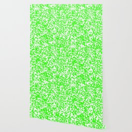 Small Spots - White and Neon Green Wallpaper