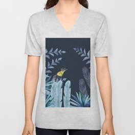 Cockatiel with tropical leaves and dark blue background Unisex V-Neck