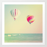 hot air balloons Art Prints featuring HOT AIR BALLOONS by The Pixel Gypsy