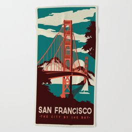 Vintage poster - San Francisco Beach Towel
