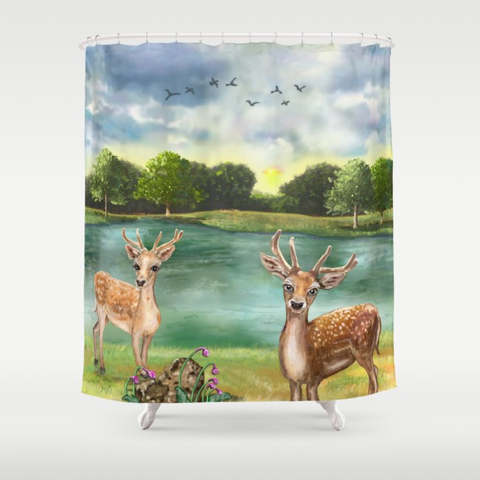 Quizzical Deer By Lake Shower Curtain