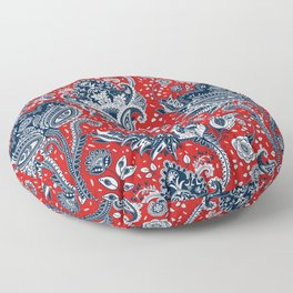 Red White & Blue Floral Paisley Floor Pillow