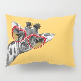 Hipster Giraffe with Glasses Pillow Sham
