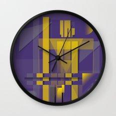 Purple Slices Yellow Wall Clock