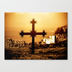Cross and Church Near St. Anne's Skete, Mount Athos, Greece Canvas Print
