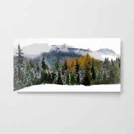 Fall misty colors to winter snow white Metal Print
