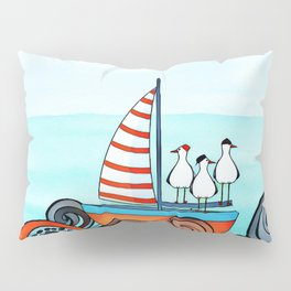 Seagull and little boat Pillow Sham