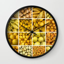 Yellow fruits & Vegetables. Home decor: Modern, colorful collage for your kitchen, home and cafe. Wall Clock