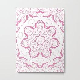 Geometric Pink Purple Star Floral Mandala Metal Print