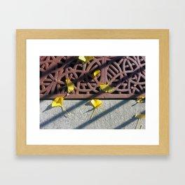 Grate and Ginko Leaves Framed Art Print