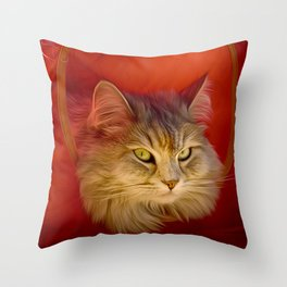 Cleopatra in her little cat house Throw Pillow