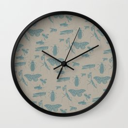 Insectology:  Insect Scatter Botanical Stencil Print Wall Clock