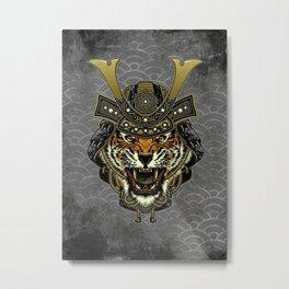Samurai Tiger, Ronin, Bushido, Samurai Mask, Cat Metal Print