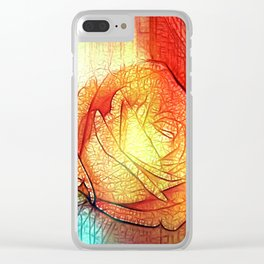 Misty Roses Of Orange And Blue By Annie Zeno Clear iPhone Case