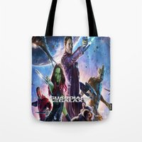 guardians of the galaxy Tote Bags featuring guardians of the galaxy by store2u