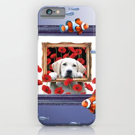 Golden Retriever Dog Poppies Flowers Clownfishes Collage iPhone Case