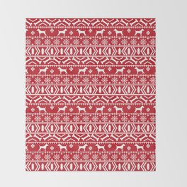 Jack Russell Terrier fair isle christmas sweater dog breed pattern holidays red and white Throw Blanket