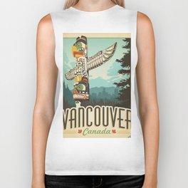 Vancouver Canada vintage travel poster Biker Tank