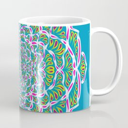 Blue Green and Pink Mandala Rosetta Flower - Symmetrical Geometric Abstract Boho Art Coffee Mug