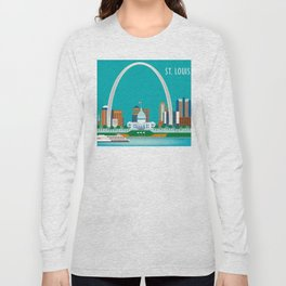 St. Louis, Missouri - Skyline Illustration by Loose Petals Long Sleeve T-shirt