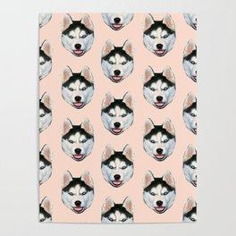 cute puppy husky dog pattern Poster
