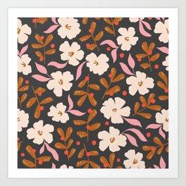 Stella's Garden Floral   Black Art Print