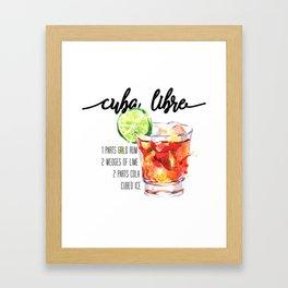 Cuba Libre - Watercolour Cocktail - Typography Art Framed Art Print