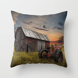 Abandoned Farmall Tractor and Barn Throw Pillow
