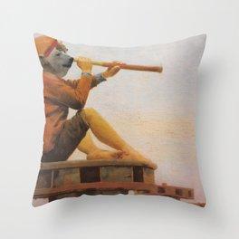 "Boy As Polar Bear On Watch Mixed Media Original Art Fine Art Collage ""Boy Bear Seaside On Watch"" Throw Pillow"