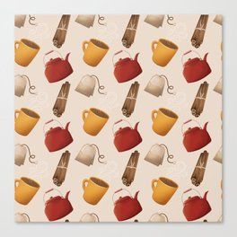 Brown Fall Style Tea and Coffee Canvas Print