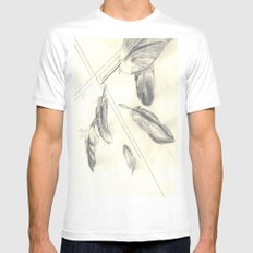 Feathers MEDIUM White Mens Fitted Tee