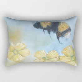 Whimsical Bumble Bee With Buttercups Rectangular Pillow