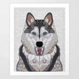 Happy Husky Art Print
