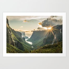 Last rays over the Canadian fjord. Art Print