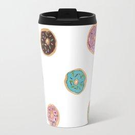 Sprinkled Donut Pattern Travel Mug