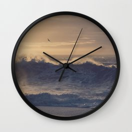 Beach in Iceland with Waves at Sunrise Wall Clock