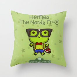 Hermes the Nerdy Frog Throw Pillow
