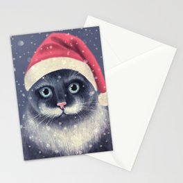 Christmas cat with a mustache Stationery Cards