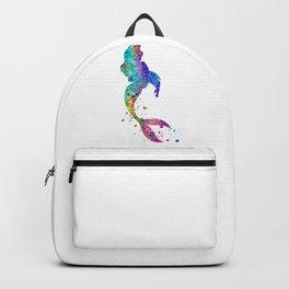 Mermaid Art Colorful Watercolor Gift Ocean Artwork Mermaid Lovers Backpack
